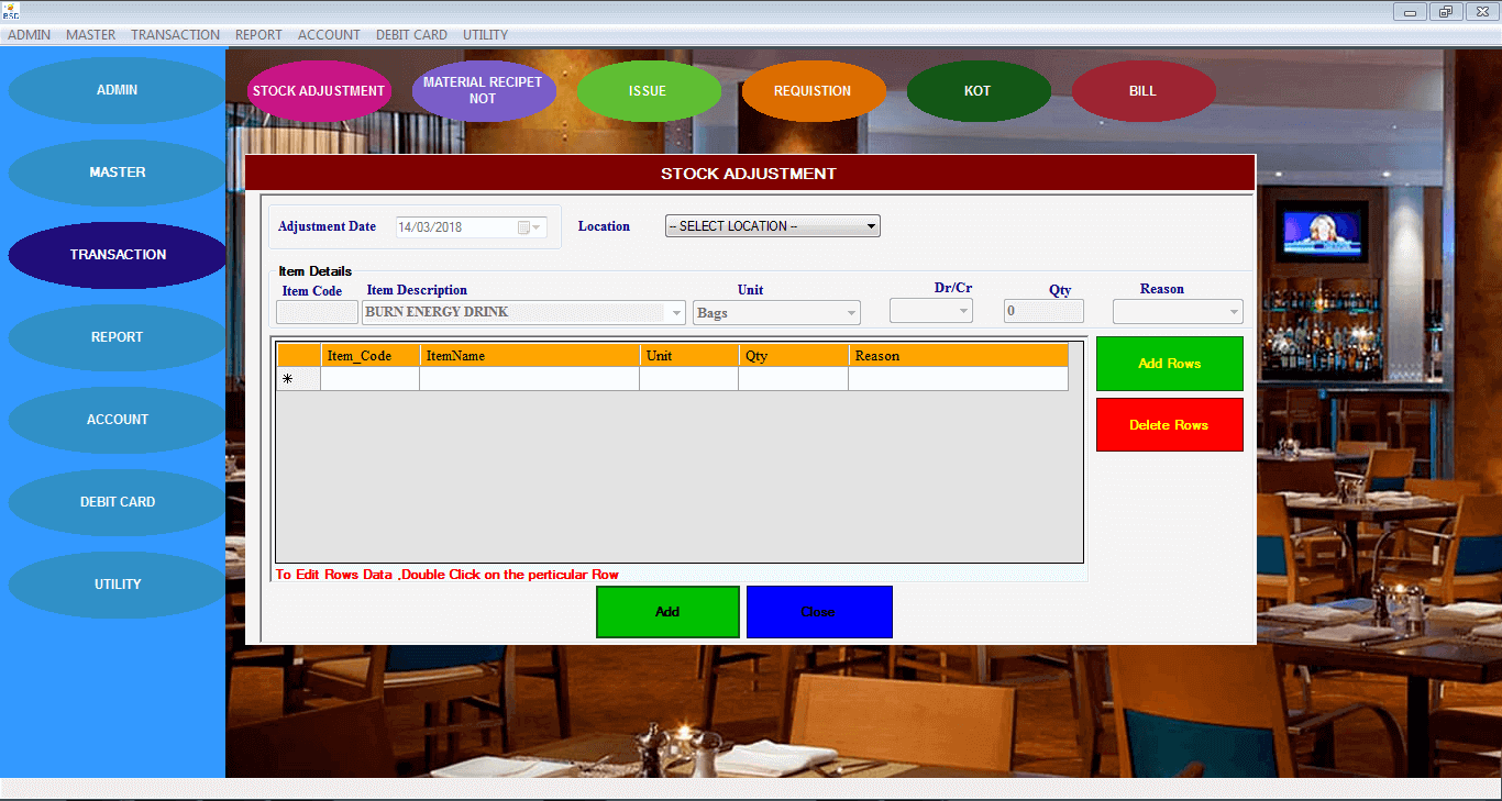 Bistro Club software (BCS)